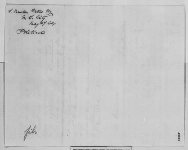 Solomon Newton Pettis to Abraham Lincoln, Friday, May 27, 1864  (New York politics)