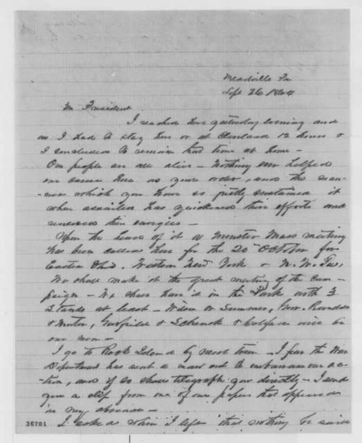 Solomon Newton Pettis to Abraham Lincoln, Monday, September 26, 1864  (Enlistment of Confederate prisoners at Rock Island)