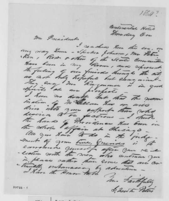 Solomon Newton Pettis to Abraham Lincoln, September 1864  (Political affairs and request for pass)