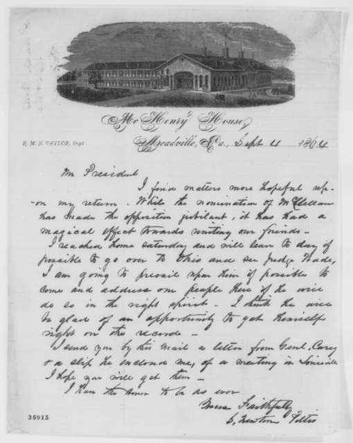 Solomon Newton Pettis to Abraham Lincoln, Sunday, September 04, 1864  (Politics)