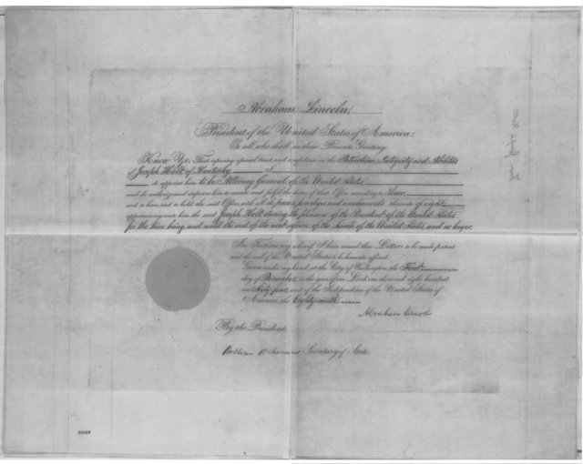State Department, Thursday, December 01, 1864  (Printed commission for Joseph Holt's appointment as Attorney General; document signed by Lincoln and William H. Seward)