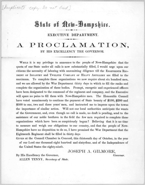State of New-Hampshire. Executive Department. A proclamation, by His Excellency the Governor. [Concord, 1864].