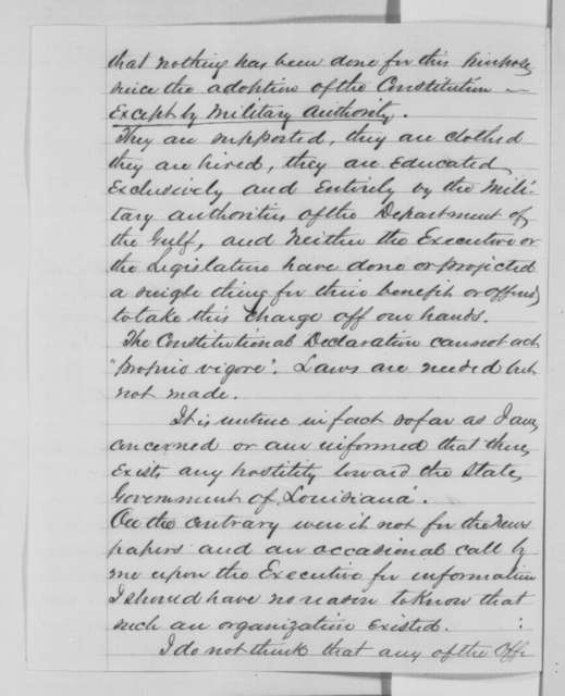 Stephen A. Hurlbut to Abraham Lincoln, Tuesday, November 29, 1864  (Reply to Lincoln's letter of November 14)
