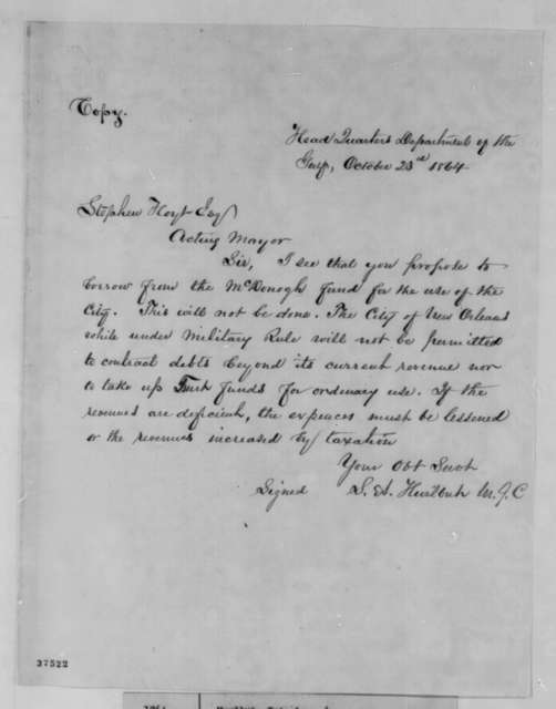 Stephen A. Hurlbut to Stephen Hoyt, Sunday, October 23, 1864  (Affairs in New Orleans)