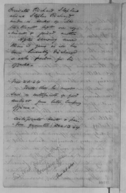 Stephen Richard to Abraham Lincoln, Wednesday, November 23, 1864  (Requests pardon for desertion; with endorsements)