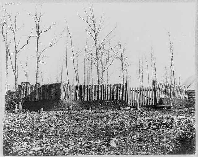 Stockade and entrance to camp of 50th New York Engineers, Rappahannock Station, Va.