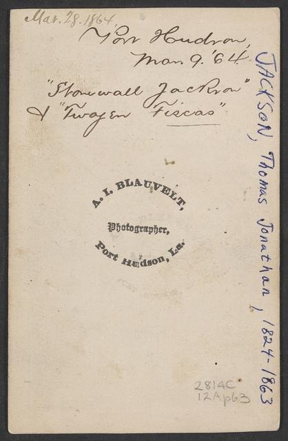"""Stonewall Jackson"" & ""Twogen Fiscas,"" Port Hudson / A.I. Blauvelt, photographer, Port Hudson, La."