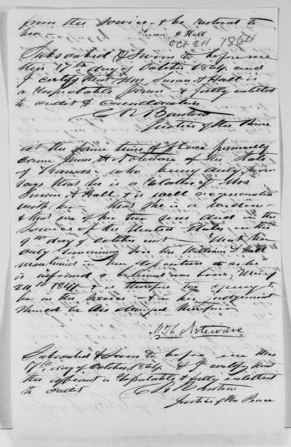 Susan A. Hall and James H. Noteware, Monday, October 17, 1864  (Affidavits; endorsed by William Radford)