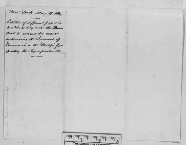 Sydney H. Gay, et al. to Abraham Lincoln, Thursday, May 19, 1864  (Telegram concerning publication of fraudulent proclamation)