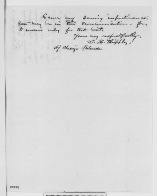 T. H. Whipple to Abraham Lincoln, Tuesday, May 24, 1864  (Sends treasonable document found on body of an ex-colonel of U. S. volunteers)