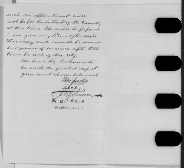 T. M. Jacks, James M. Johnson and Anthony A. C. Rogers to Abraham Lincoln, Saturday, May 28, 1864  (Judicial appointment in Arkansas)