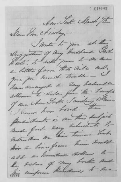 Teresa Viele to John G. Nicolay, March 7 [1864]  (Requests donation to Sanitary Fair)