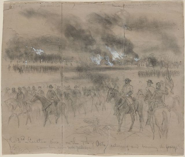 The 3rd Custer div. on the 7th of Octr. retiring and burning the forage Etc. Somewhere near Mt. Jackson