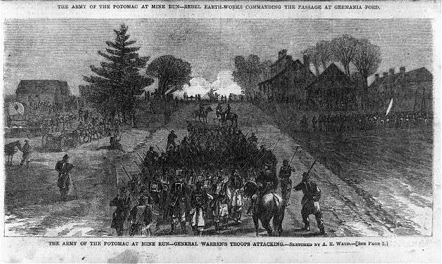 The Army of the Potomac at Mine Run - General Warren's troops attacking [Robertson's Tavern, an old Virginia hostelry]