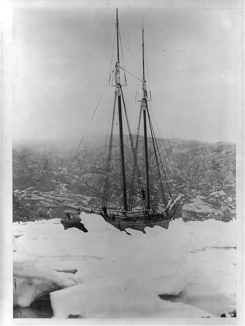 [The Benjamin S. Wright, a schooner, held in the ice at Square Island Harbor, 1864]