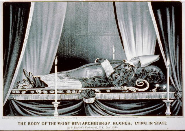 The body of the most Revd. Archbishop Hughes, lying in state: at St. Patrick's Cathedral, N.Y. Jan. 1864.