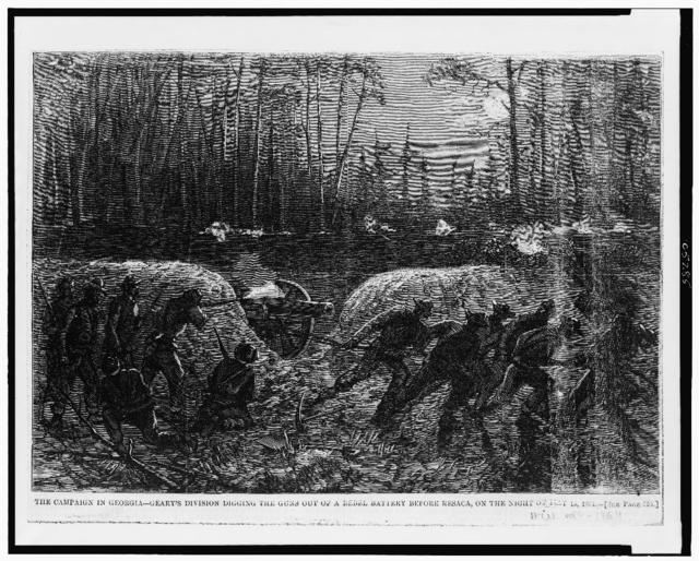 The Campaign in Georgia--Geary's division digging the guns out of a rebel battery before Resaca, on the night of May 15, 1864