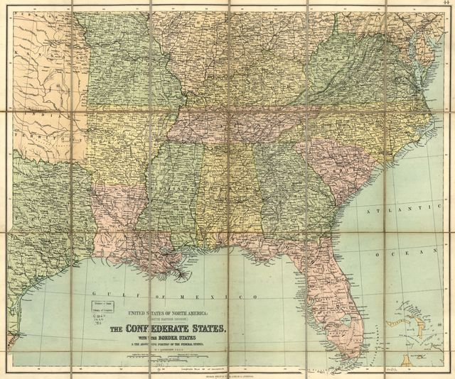 The Confederate states, with the border states & the adjoining portion of the Federal states