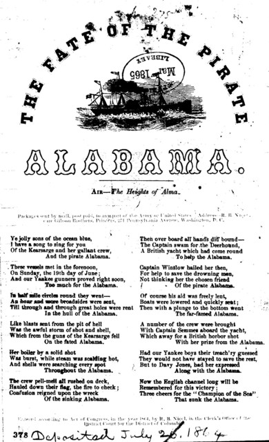 The fate of the pirate Alabama. Air- The heights of Alma