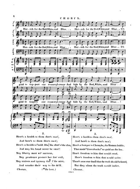 The hurrah for the red, white & blue: an old friend in a new dress lines by Robert Burns, altered and adapted to suit the present times by James E. Murdoch.