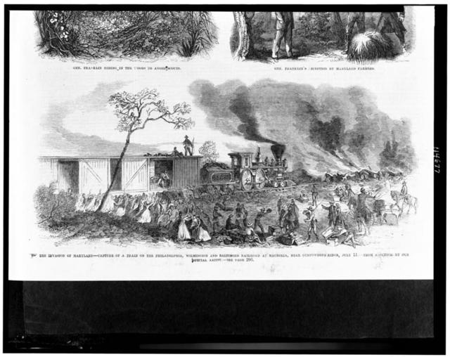The invasion of Maryland--capture of a train on the Philadelphia, Wilmington and Baltimore Railroad at Magnolia, near Gunpowderb [sic] Ridge, July 11 / from a sketch by our special artist.