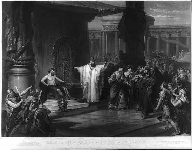 The iron worker and King Solomon / the original painted by Prof. C. Schussele ; engraved by John Sartain, Phila.