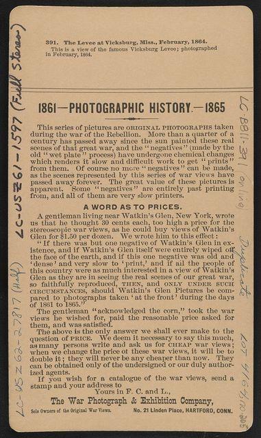 The levee at Vicksburg, Miss., February, 1864