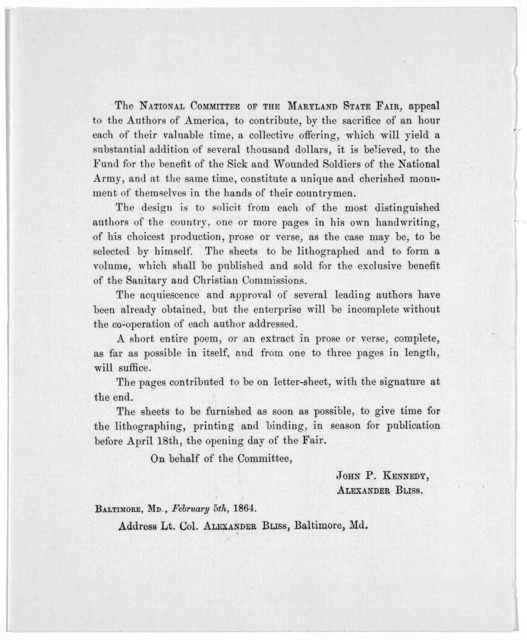 The National committee of the Maryland state fair, appeal to the authors of America, to contribute, by the sacrifice of an hour each of their valuable time, a collective offering, ... for the benefit of the sick and wounded soldiers of the Natio