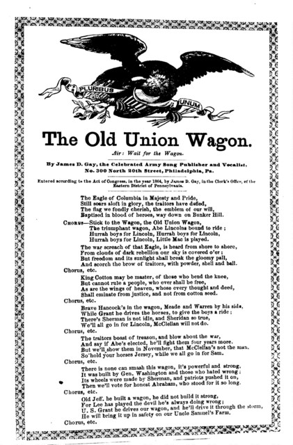 The old Union wagon. Air: Wait for the wagon. No. 300 North 20 St., Phila., Pa. [c. 1864]