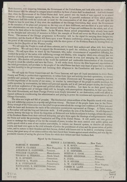 The Presidential election. Appeal of the National Union Committee to the People of the United States.