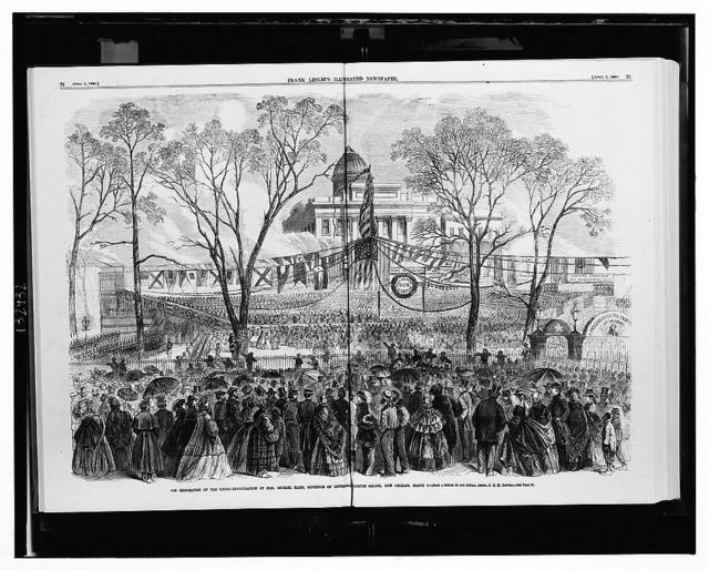 The restoration of the Union - inauguration of Hon. Michael Hahn, Governor of Louisiana, on Lafayette Square, New Orleans, March 4 / from a sketch by our special artist, C.E.H. Bonwill.