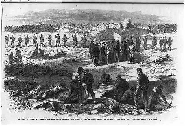 The seige of Petersburg - Burying the dead before Cemetery Hill under a flag of truce after the repulse of the Ninth Army Corps