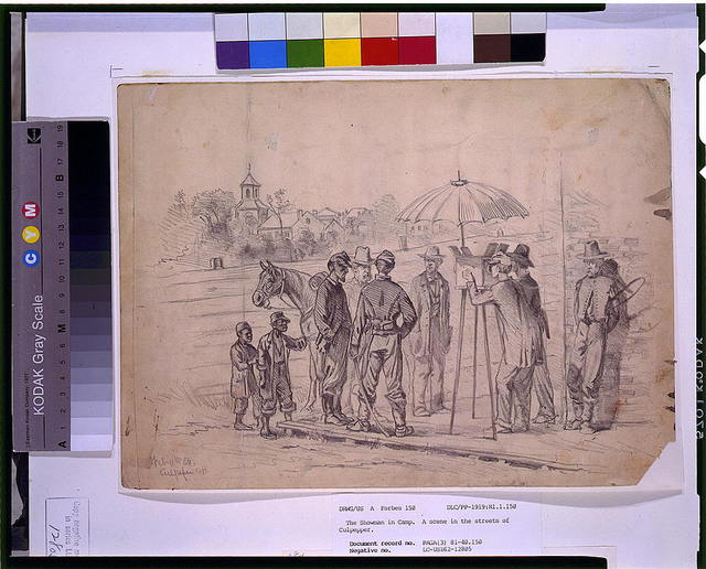 The showman in camp--A scene in the streets of Culpepper [sic] / E.F.