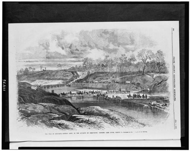 The war in Louisiana - Banks's army, in the advance of Shreveport, crossing Cane River, March 31 / sketched by our [artis]t, C.E.H. Bonwill.