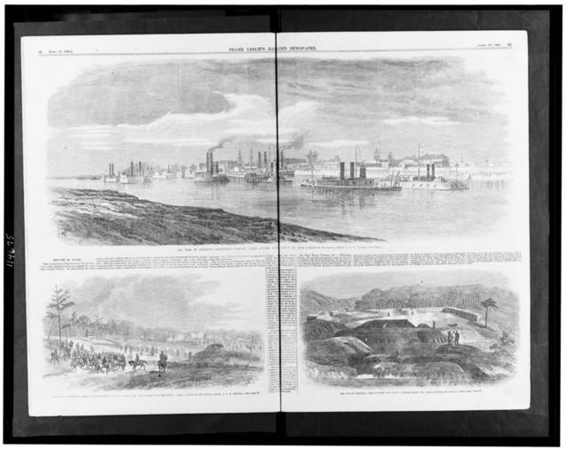 The war in Louisiana--Commodore Porter's fleet before Alexandria, March 26 / from a sketch by our special artist, C.E.H. Bonwill. - The war in Louisiana--Battle of Crump's Hill, April 2, between Gen. Lee's cavalry and the rebels / from a sketch by our special artist, C.E.H. Bonwill. - The war in Louisiana--Fort De Russy, Red River, captured March 14 / from a sketch by Owen G. Long.