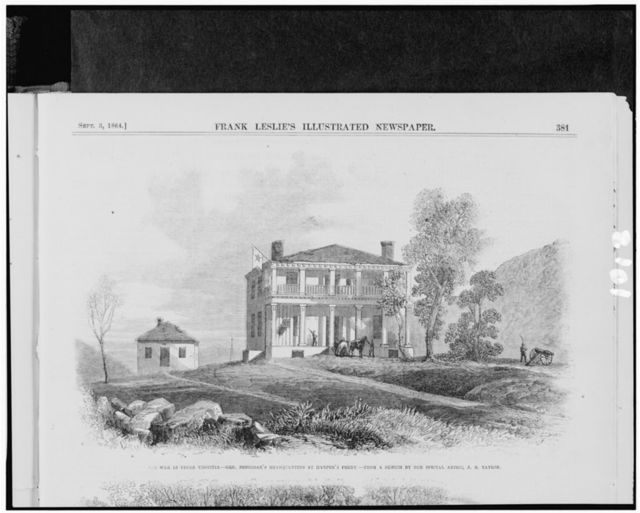 The war in upper Virginia - Gen. Sheridan's headquarters at Harper's Ferry / from a sketch by J.E. Taylor.