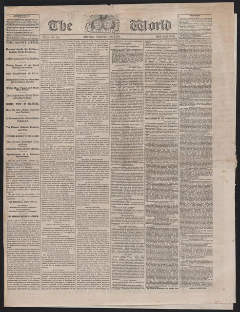 The World, [newspaper]. June 9, 1864.