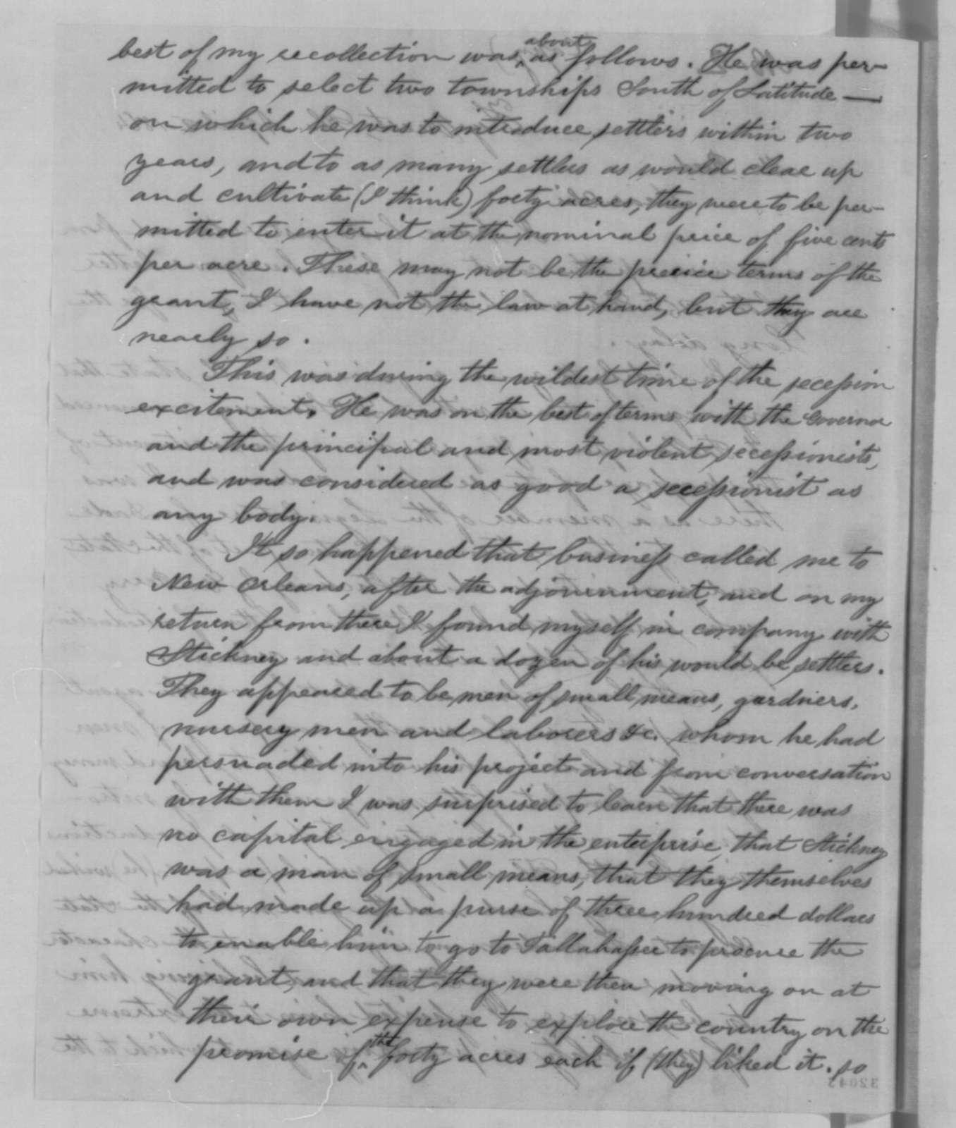 Theodore Bissell to Harrison Reed, Saturday, April 02, 1864  (Lyman D. Stickney)