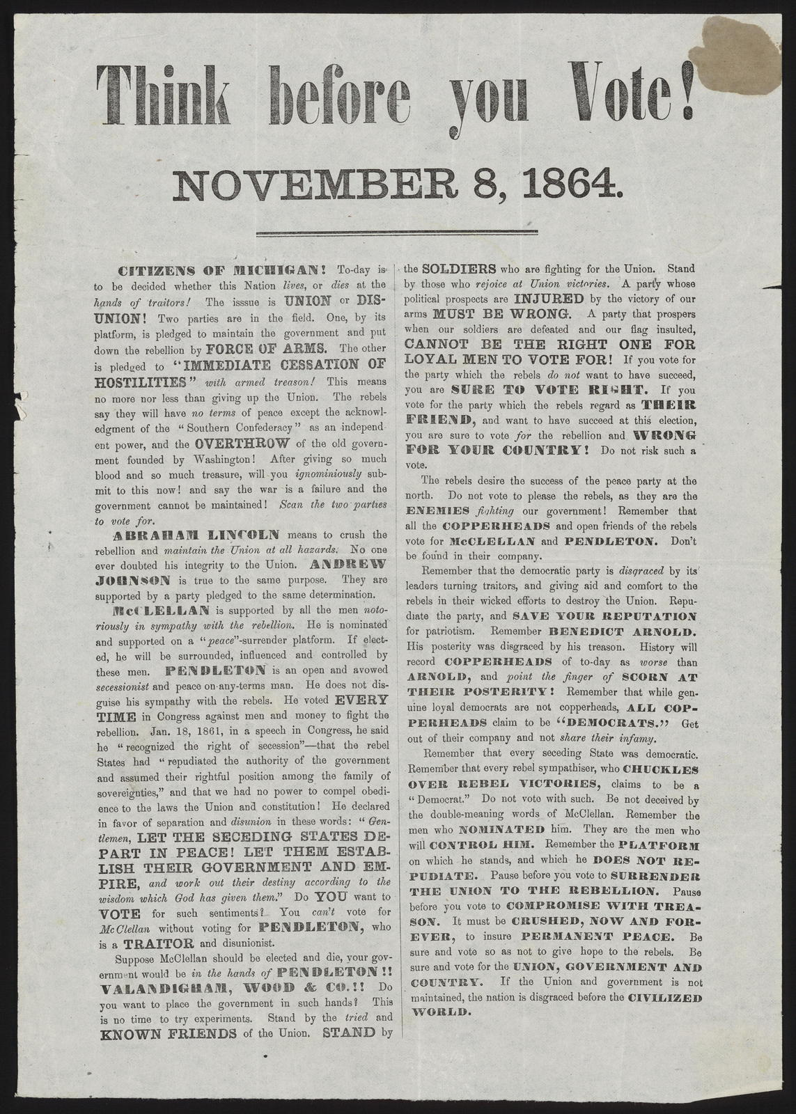 Think before you vote! November 8, 1864.