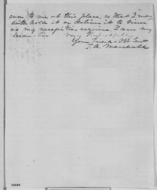 Thomas A. Marshall to Abraham Lincoln, Friday, May 27, 1864  (Requests Lincoln to write letter on his behalf to General Slocum)
