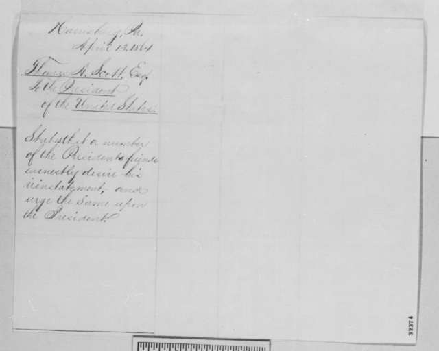 Thomas A. Scott to Abraham Lincoln, Wednesday, April 13, 1864  (Case of Charles Garretson)