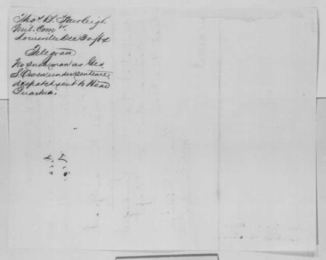 Thomas B. Fairleigh to Abraham Lincoln, Friday, December 30, 1864  (Telegram concerning case of George S. Owen)