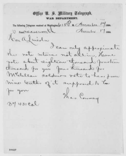 Thomas Carney to Abraham Lincoln, Thursday, November 17, 1864  (Telegram in reply to Lincoln's request for election results)