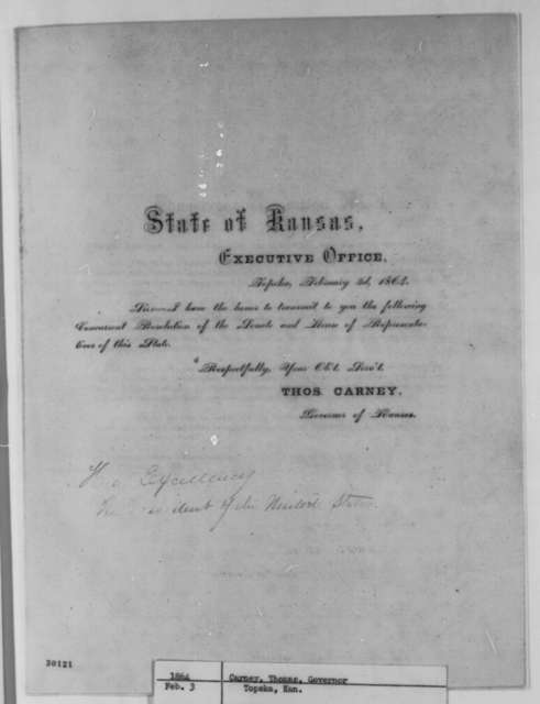 Thomas Carney to Abraham Lincoln, Wednesday, February 03, 1864  (Printed letter with resolutions)