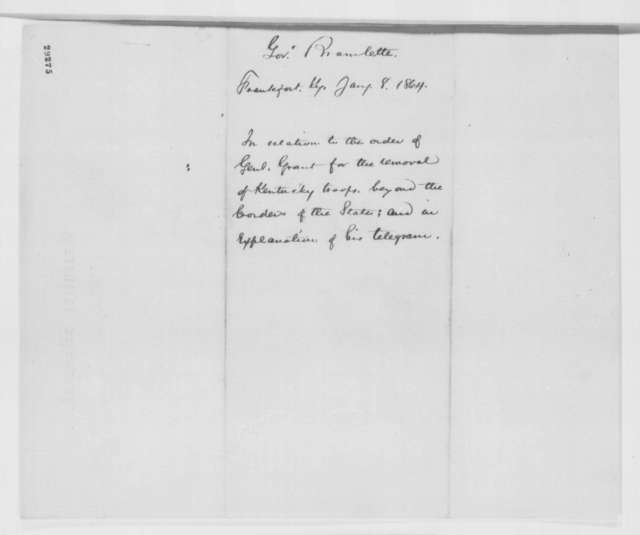 Thomas E. Bramlette to Abraham Lincoln, Friday, January 08, 1864  (Military affairs in Kentucky)