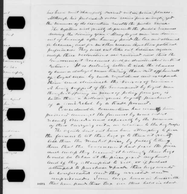 Thomas E. Bramlette to Abraham Lincoln, Monday, November 14, 1864  (Affairs in Kentucky)