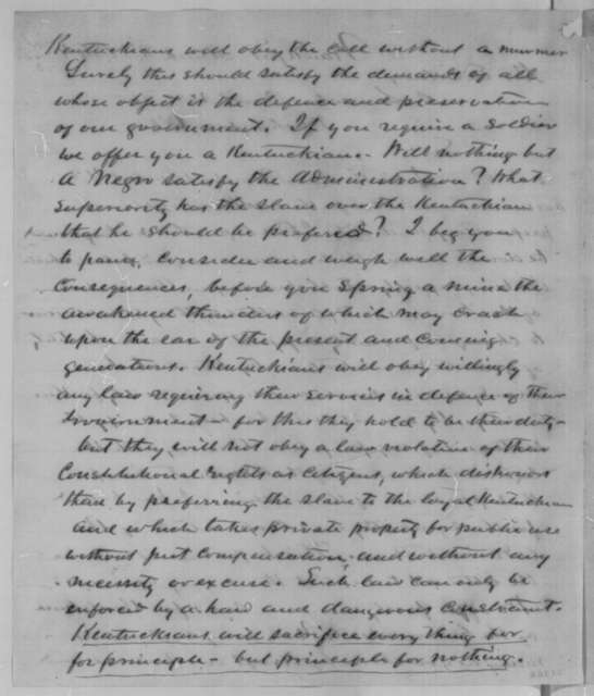 Thomas E. Bramlette to Abraham Lincoln, Tuesday, March 08, 1864  (Opposes enlistment of black soldiers)