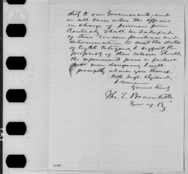 Thomas E. Bramlette to Abraham Lincoln, Wednesday, March 30, 1864  (Recommends discharge of prisoner)