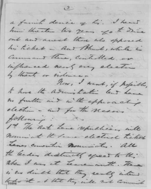 Thomas Ewing Jr. to William P. Dole, Friday, August 26, 1864  (Kansas politics; endorsed by Dole)