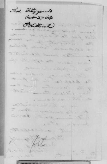 Thomas Fitzgerald to Abraham Lincoln, October 29 [1864]  (Political affairs in Pennsylvania)